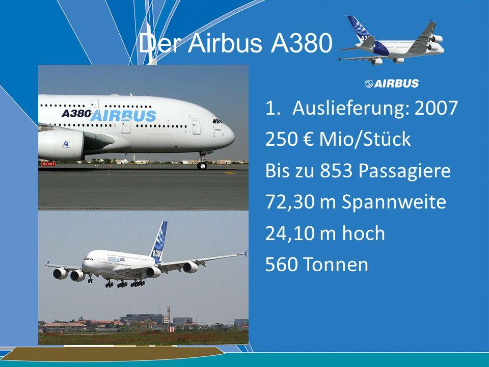 1.Auslieferung: 2007 250 Mio/Stück Bis zu 853 Passagiere 72,30 m Spannweite 24,10 m hoch 560 Tonnen Der Airbus A380