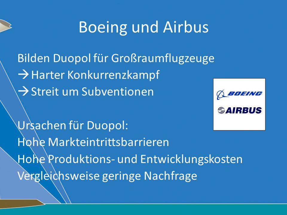 Boeing und Airbus Bilden Duopol für Großraumflugzeuge Harter Konkurrenzkampf Streit um Subventionen Ursachen für Duopol: Hohe Markteintrittsbarrieren