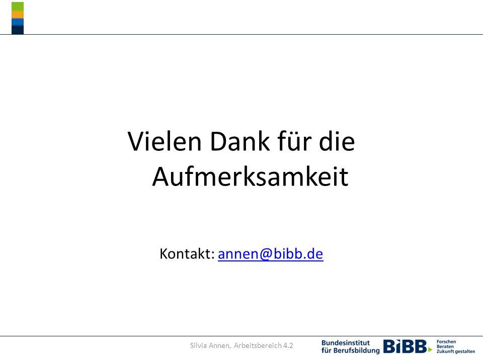 Vielen Dank für die Aufmerksamkeit Kontakt: annen@bibb.deannen@bibb.de Silvia Annen, Arbeitsbereich 4.2