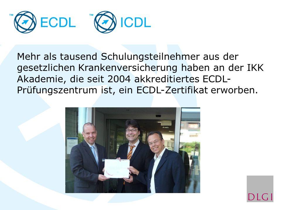 Mehr als tausend Schulungsteilnehmer aus der gesetzlichen Krankenversicherung haben an der IKK Akademie, die seit 2004 akkreditiertes ECDL- Prüfungszentrum ist, ein ECDL-Zertifikat erworben.