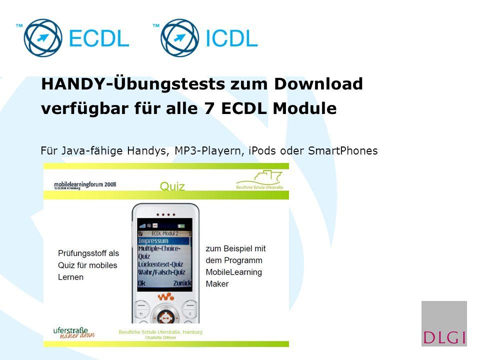 HANDY-Übungstests zum Download verfügbar für alle 7 ECDL Module Für Java-fähige Handys, MP3-Playern, iPods oder SmartPhones