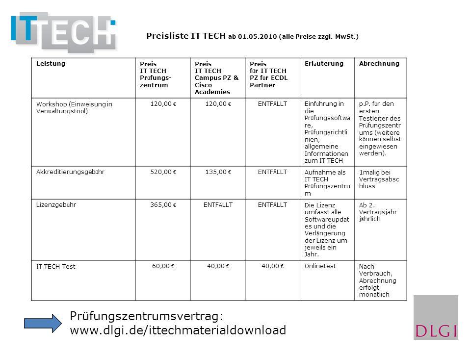 Prüfungszentrumsvertrag: www.dlgi.de/ittechmaterialdownload LeistungPreis IT TECH Pr ü fungs- zentrum Preis IT TECH Campus PZ & Cisco Academies Preis
