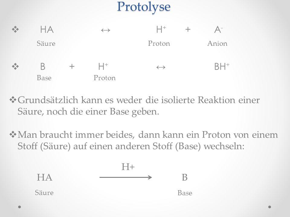 Protolyse HA H + +A - B+H + BH + Base Proton SäureProtonAnion Grundsätzlich kann es weder die isolierte Reaktion einer Säure, noch die einer Base gebe