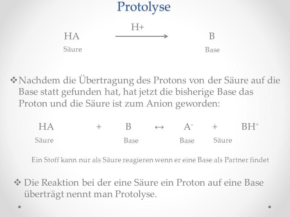 Protolyse HAB H+ Säure Base Nachdem die Übertragung des Protons von der Säure auf die Base statt gefunden hat, hat jetzt die bisherige Base das Proton und die Säure ist zum Anion geworden: HA+B A - +BH + Säure Base Ein Stoff kann nur als Säure reagieren wenn er eine Base als Partner findet Die Reaktion bei der eine Säure ein Proton auf eine Base überträgt nennt man Protolyse.