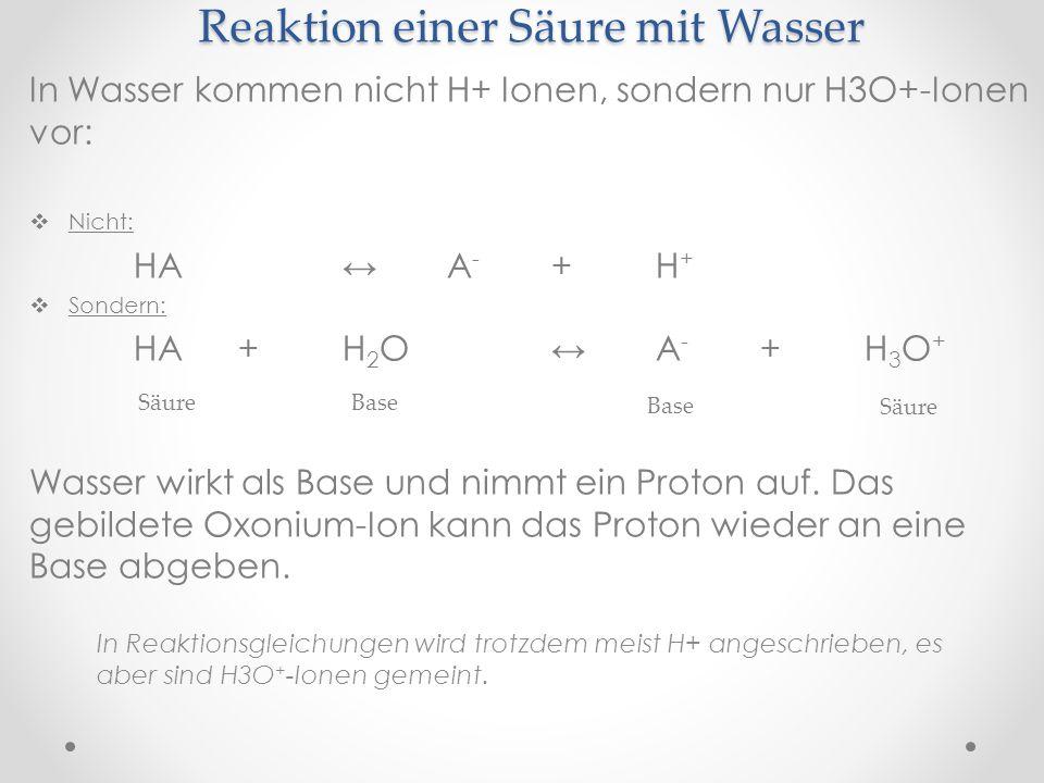 Reaktion einer Säure mit Wasser In Wasser kommen nicht H+ Ionen, sondern nur H3O+-Ionen vor: Nicht: HAA - +H + Sondern: HA+H 2 OA - +H 3 O + Wasser wirkt als Base und nimmt ein Proton auf.