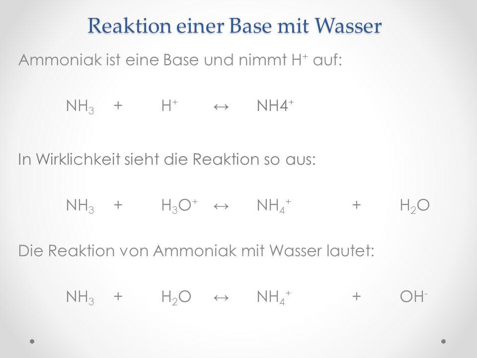 Reaktion einer Base mit Wasser Ammoniak ist eine Base und nimmt H + auf: NH 3 +H + NH4 + In Wirklichkeit sieht die Reaktion so aus: NH 3 +H 3 O + NH 4 + +H 2 O Die Reaktion von Ammoniak mit Wasser lautet: NH 3 +H 2 O NH 4 + +OH -