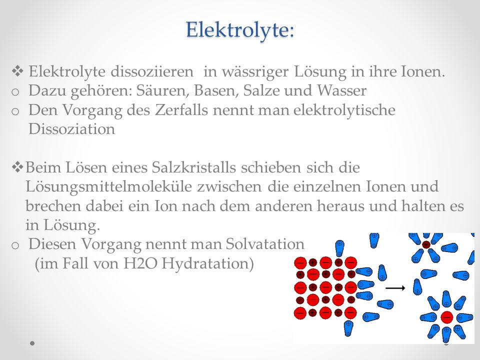Elektrolyte: Elektrolyte dissoziieren in wässriger Lösung in ihre Ionen. o Dazu gehören: Säuren, Basen, Salze und Wasser o Den Vorgang des Zerfalls ne