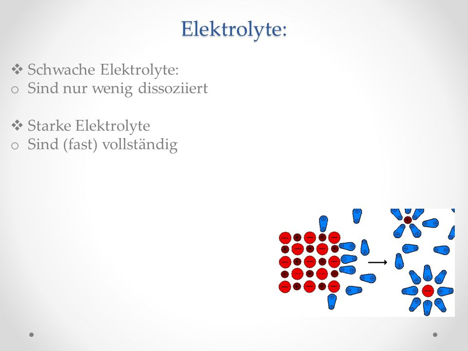 Elektrolyte: Schwache Elektrolyte: o Sind nur wenig dissoziiert Starke Elektrolyte o Sind (fast) vollständig