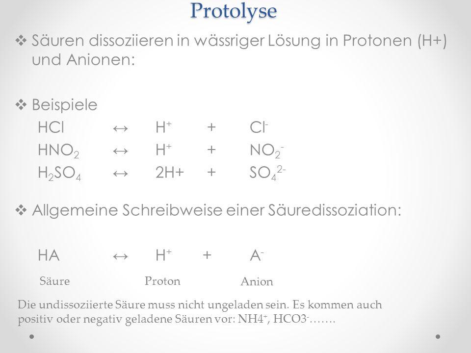 Protolyse Säuren dissoziieren in wässriger Lösung in Protonen (H+) und Anionen: Beispiele HCl H + +Cl - HNO 2 H + +NO 2 - H 2 SO 4 2H+ +SO 4 2- Allgemeine Schreibweise einer Säuredissoziation: HA H + +A - SäureProton Anion Die undissoziierte Säure muss nicht ungeladen sein.