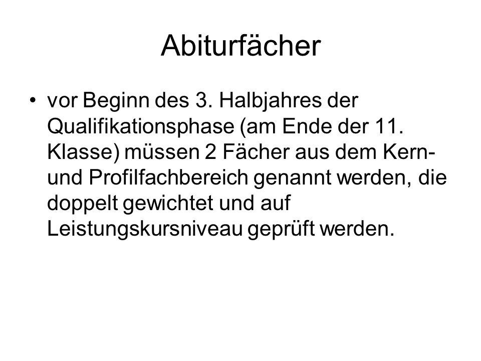 Abiturfächer vor Beginn des 3.Halbjahres der Qualifikationsphase (am Ende der 11.
