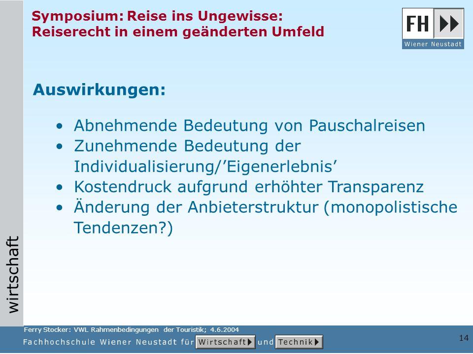 wirtschaft 14 Symposium: Reise ins Ungewisse: Reiserecht in einem geänderten Umfeld Änderung der Anbieterstruktur (monopolistische Tendenzen?) Auswirk