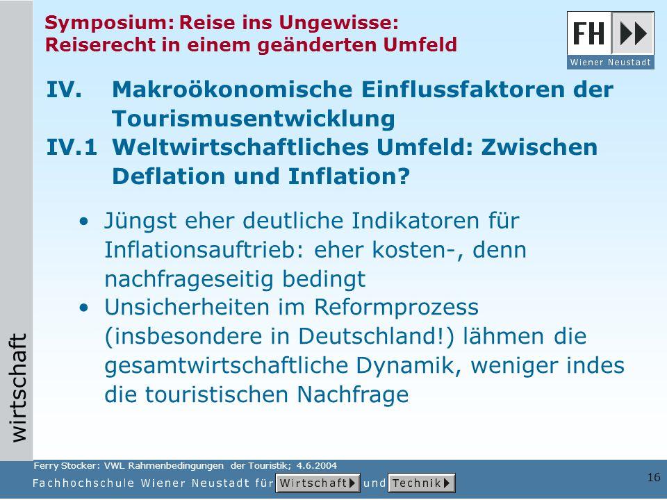 wirtschaft 16 Symposium: Reise ins Ungewisse: Reiserecht in einem geänderten Umfeld Unsicherheiten im Reformprozess (insbesondere in Deutschland!) läh