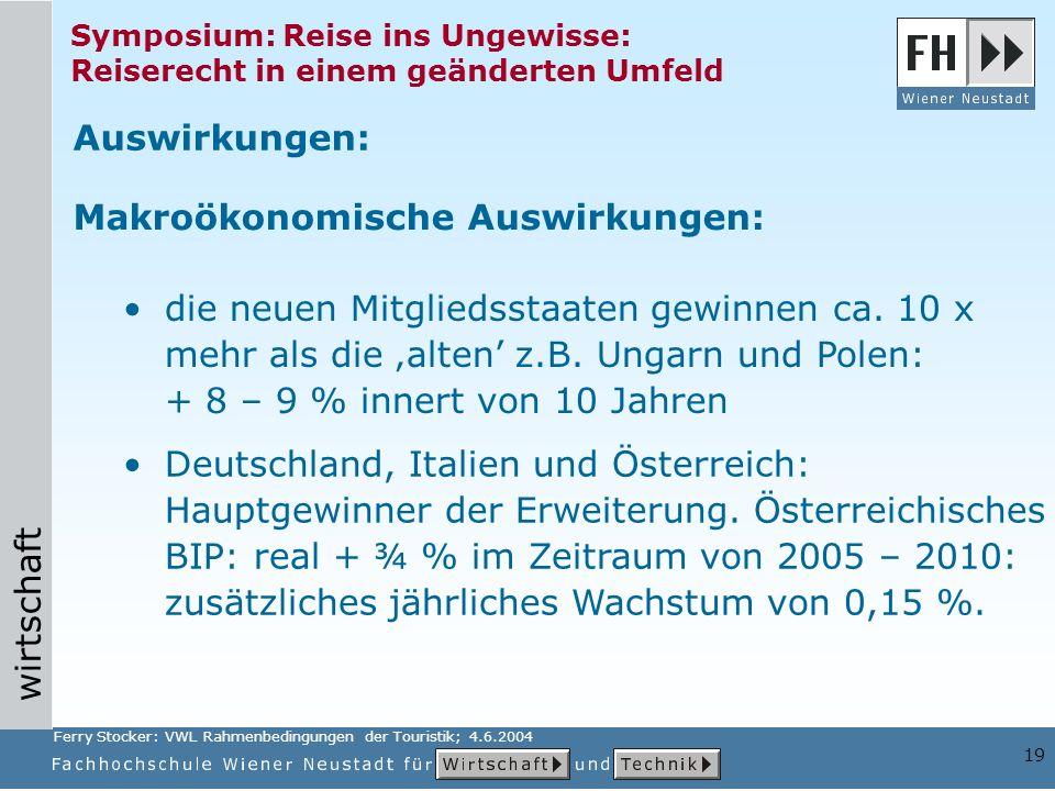 wirtschaft 19 Symposium: Reise ins Ungewisse: Reiserecht in einem geänderten Umfeld Deutschland, Italien und Österreich: Hauptgewinner der Erweiterung