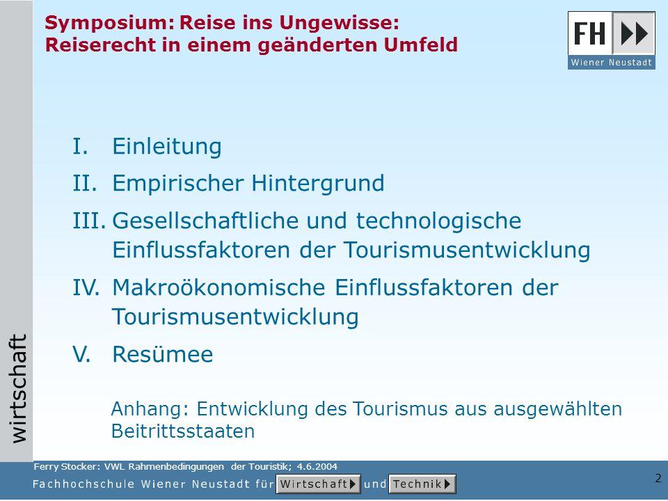 wirtschaft 2 Symposium: Reise ins Ungewisse: Reiserecht in einem geänderten Umfeld I.Einleitung II.Empirischer Hintergrund III.Gesellschaftliche und t