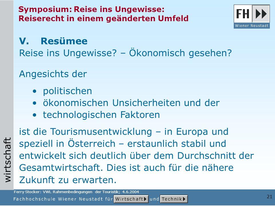 wirtschaft 21 Symposium: Reise ins Ungewisse: Reiserecht in einem geänderten Umfeld ist die Tourismusentwicklung – in Europa und speziell in Österreic