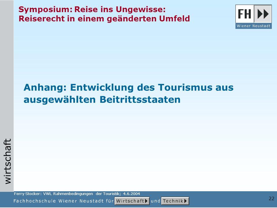 wirtschaft 22 Symposium: Reise ins Ungewisse: Reiserecht in einem geänderten Umfeld Anhang: Entwicklung des Tourismus aus ausgewählten Beitrittsstaaten Ferry Stocker: VWL Rahmenbedingungen der Touristik; 4.6.2004