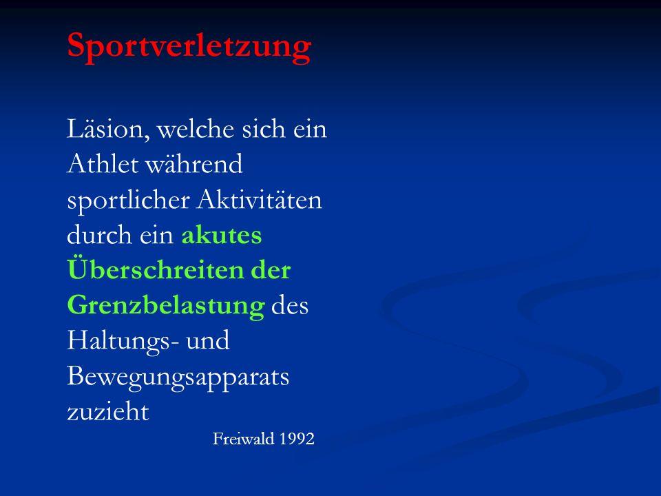 Sportverletzung Läsion, welche sich ein Athlet während sportlicher Aktivitäten durch ein akutes Überschreiten der Grenzbelastung des Haltungs- und Bew