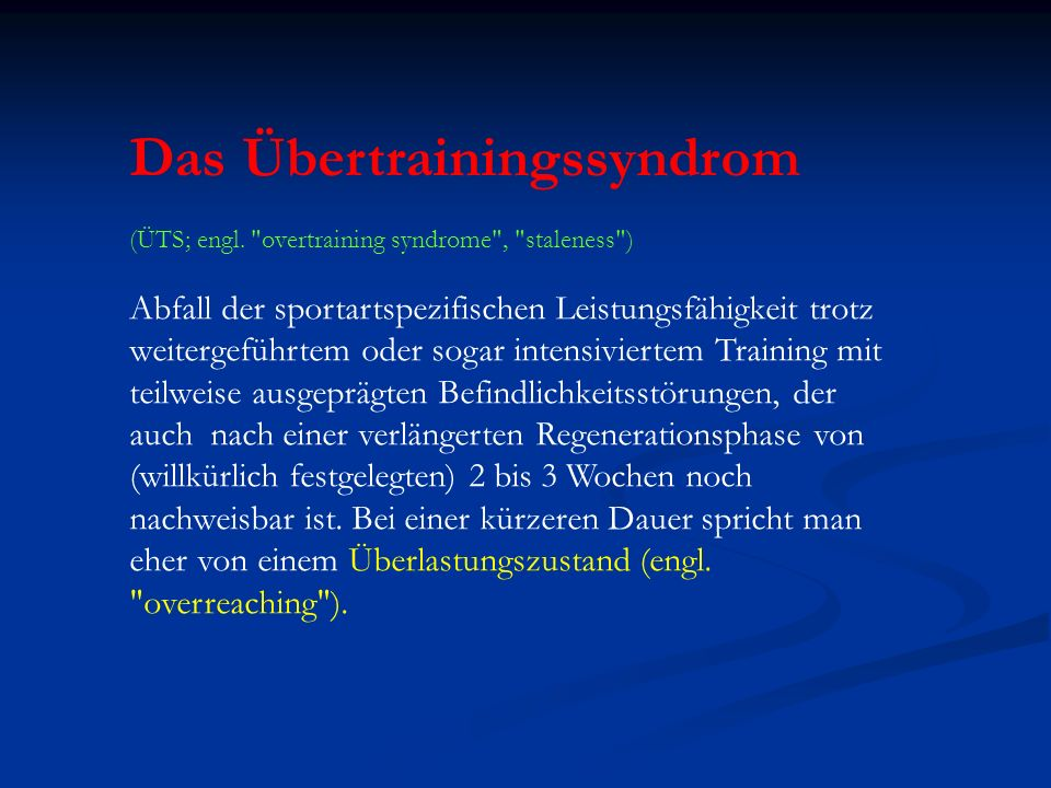 Das Übertrainingssyndrom (ÜTS; engl.