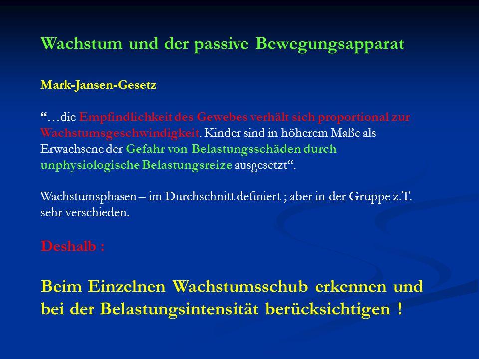 Wachstum und der passive Bewegungsapparat Mark-Jansen-Gesetz …die Empfindlichkeit des Gewebes verhält sich proportional zur Wachstumsgeschwindigkeit.