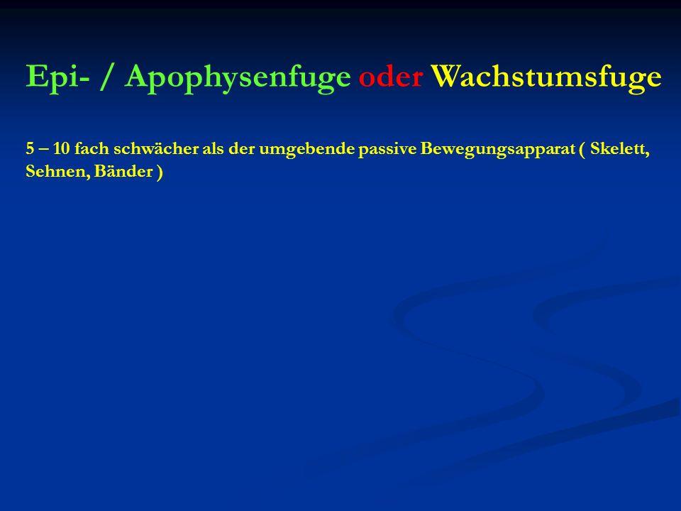 Epi- / Apophysenfuge oder Wachstumsfuge 5 – 10 fach schwächer als der umgebende passive Bewegungsapparat ( Skelett, Sehnen, Bänder )
