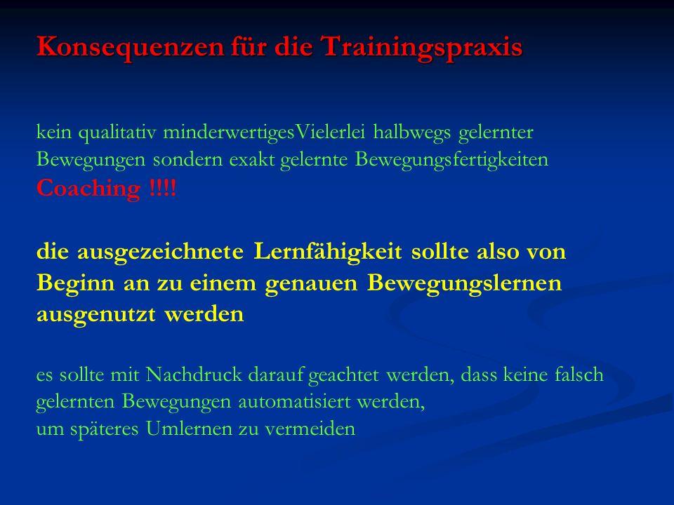 Konsequenzen für die Trainingspraxis Konsequenzen für die Trainingspraxis kein qualitativ minderwertigesVielerlei halbwegs gelernter Bewegungen sonder