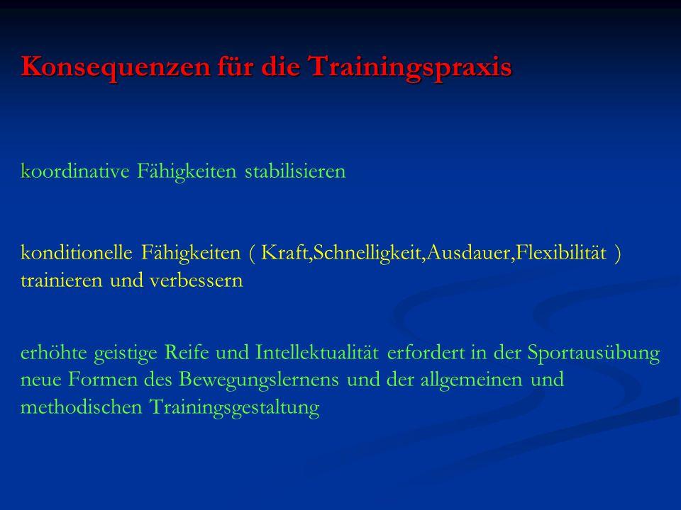 Konsequenzen für die Trainingspraxis k Konsequenzen für die Trainingspraxis koordinative Fähigkeiten stabilisieren konditionelle Fähigkeiten ( Kraft,S