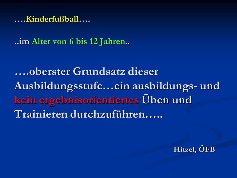 ….Kinderfußball…...im Alter von 6 bis 12 Jahren.. ….oberster Grundsatz dieser Ausbildungsstufe…ein ausbildungs- und kein ergebnisorientiertes Üben und