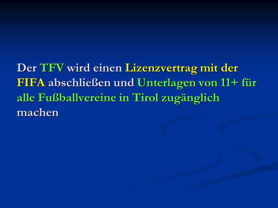 Der TFV wird einen Lizenzvertrag mit der FIFA abschließen und Unterlagen von 11+ für alle Fußballvereine in Tirol zugänglich machen