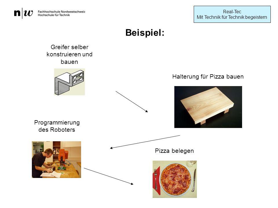 Real-Tec Mit Technik für Technik begeistern Greifer selber konstruieren und bauen Pizza belegen Halterung für Pizza bauen Programmierung des Roboters Beispiel: