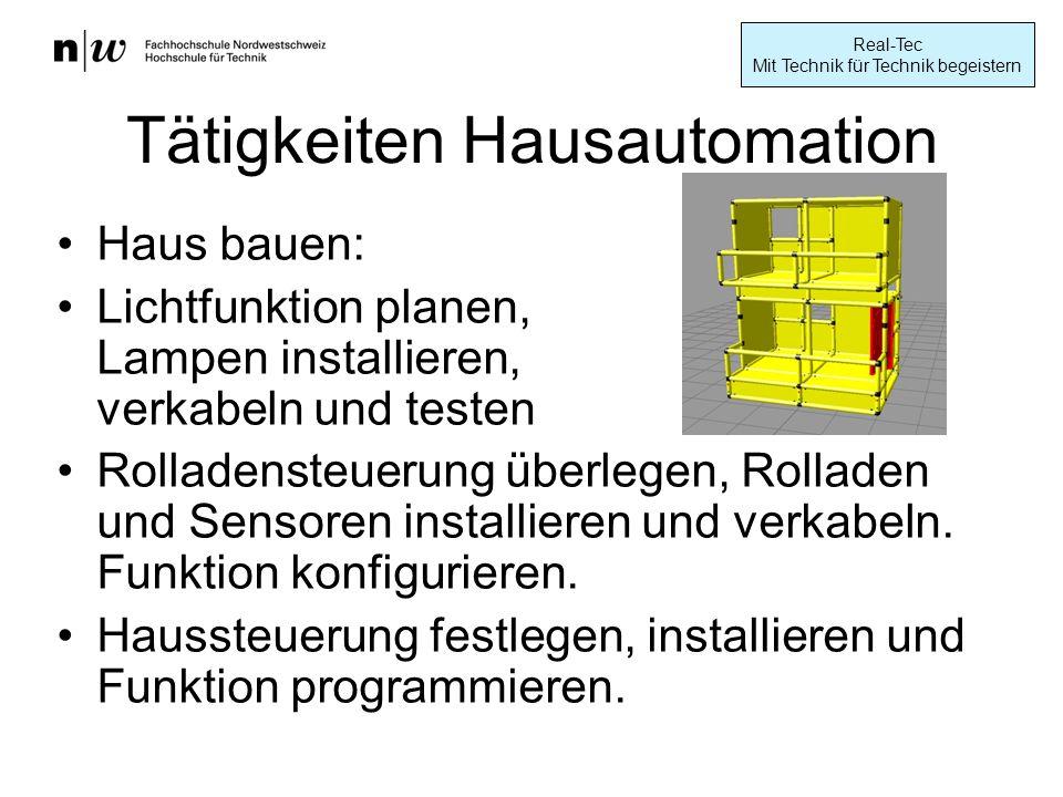 Real-Tec Mit Technik für Technik begeistern Tätigkeiten Hausautomation Haus bauen: Lichtfunktion planen, Lampen installieren, verkabeln und testen Rolladensteuerung überlegen, Rolladen und Sensoren installieren und verkabeln.