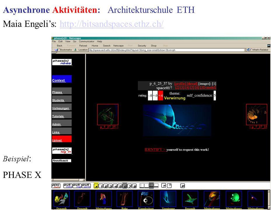 Maia Engelis: http://bitsandspaces.ethz.ch/http://bitsandspaces.ethz.ch/ Beispiel : PHASE X Asynchrone Aktivitäten: Architekturschule ETH
