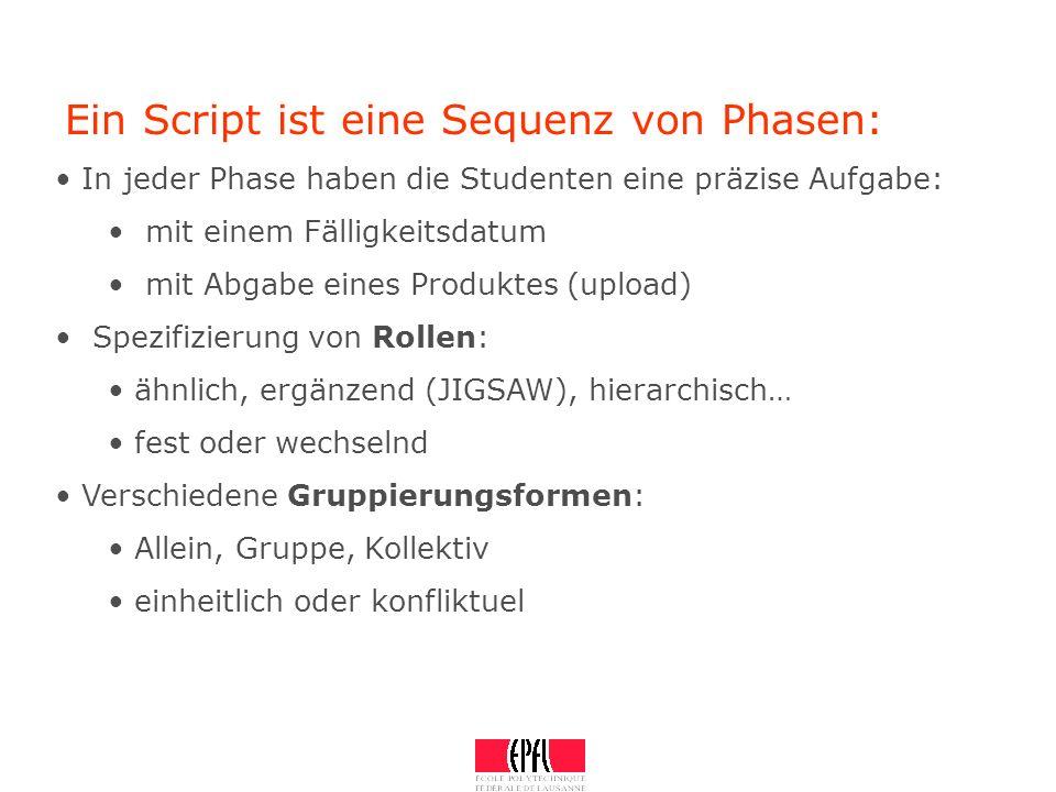 Ein Script ist eine Sequenz von Phasen: In jeder Phase haben die Studenten eine präzise Aufgabe: mit einem Fälligkeitsdatum mit Abgabe eines Produktes