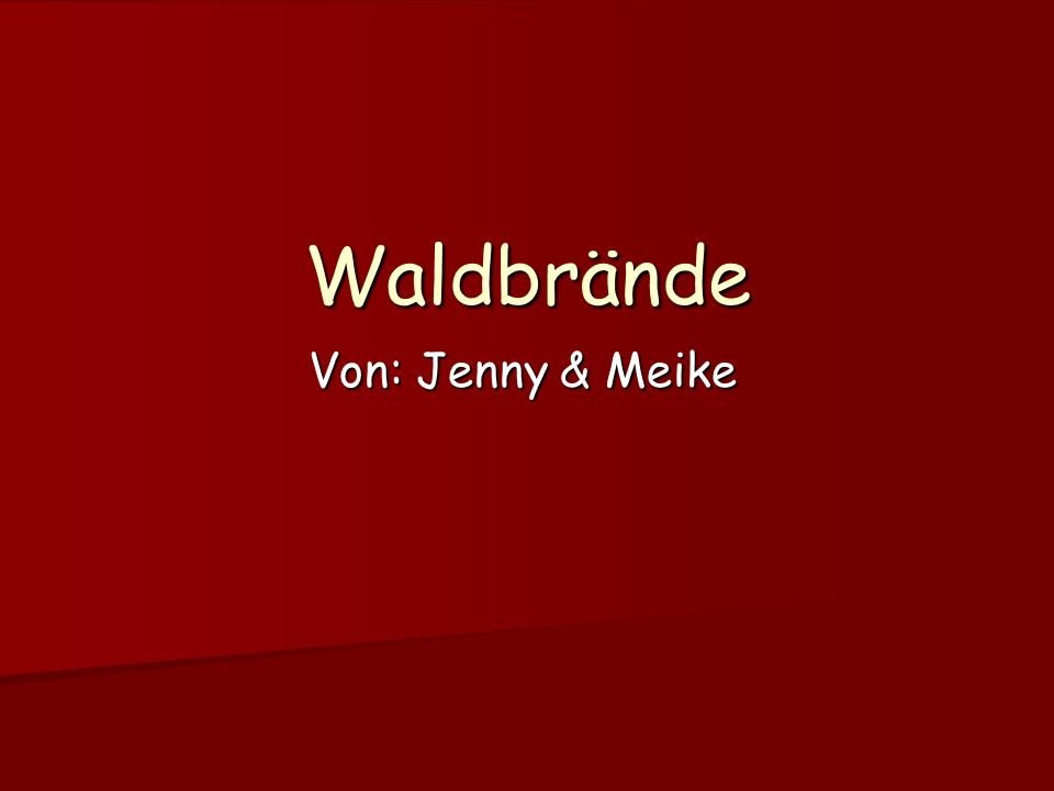 Waldbrände Von: Jenny & Meike