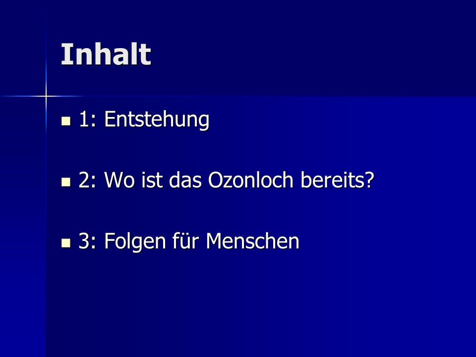 Inhalt 1: Entstehung 1: Entstehung 2: Wo ist das Ozonloch bereits? 2: Wo ist das Ozonloch bereits? 3: Folgen für Menschen 3: Folgen für Menschen