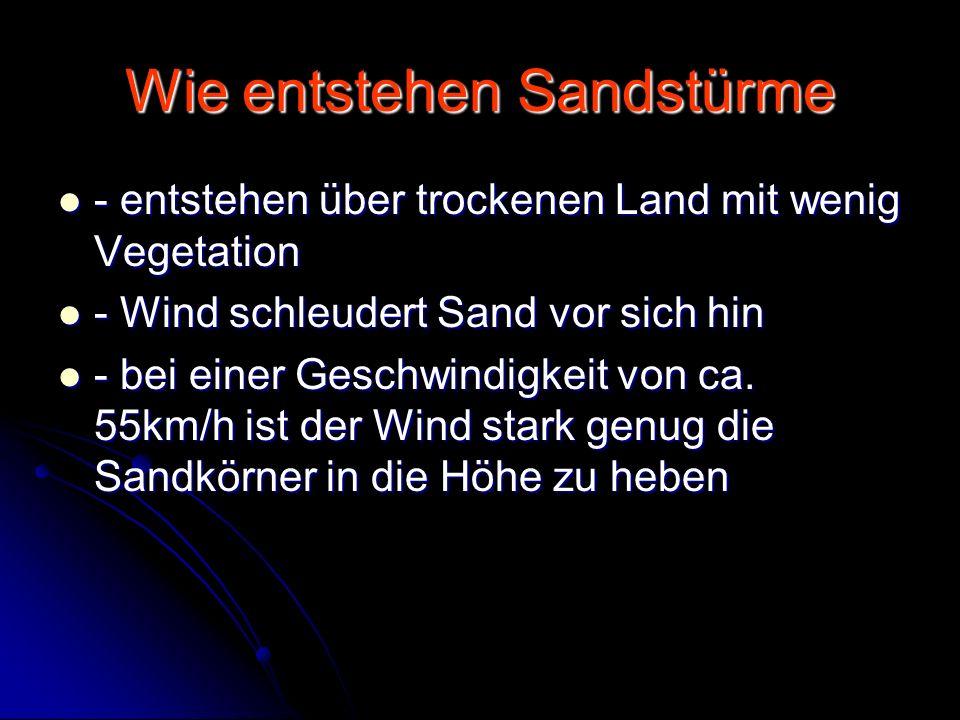 Sandsturm gefährdete Regionen Durch Sandstürme gefährdete Regionen sind : Durch Sandstürme gefährdete Regionen sind : Steppen und Wüstengebiet in Mittelasien, Nilgebiet, Israel/Palästina, Tunesien und Libyen und der nordafrikanisch – arabischen Raum Steppen und Wüstengebiet in Mittelasien, Nilgebiet, Israel/Palästina, Tunesien und Libyen und der nordafrikanisch – arabischen Raum