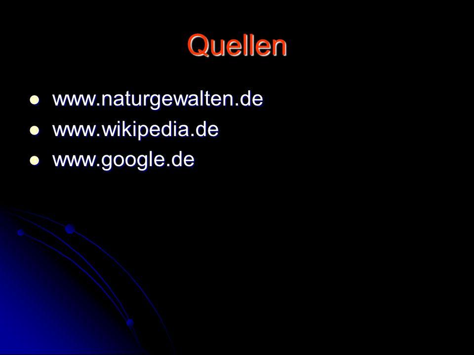 Quellen www.naturgewalten.de www.naturgewalten.de www.wikipedia.de www.wikipedia.de www.google.de www.google.de