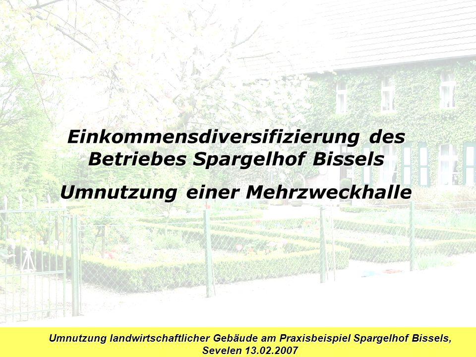 Umnutzung landwirtschaftlicher Gebäude am Praxisbeispiel Spargelhof Bissels, Sevelen 13.02.2007 Betriebsspiegel Bissels KG, Standort Sevelen Landwirtschaftl.