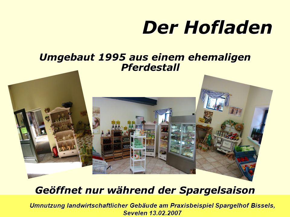Umnutzung landwirtschaftlicher Gebäude am Praxisbeispiel Spargelhof Bissels, Sevelen 13.02.2007 Der Hofladen Umgebaut 1995 aus einem ehemaligen Pferde