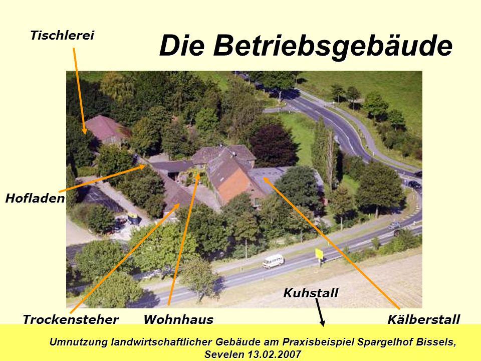Umnutzung landwirtschaftlicher Gebäude am Praxisbeispiel Spargelhof Bissels, Sevelen 13.02.2007 Wohnhaus Kuhstall Kälberstall Die Betriebsgebäude Troc