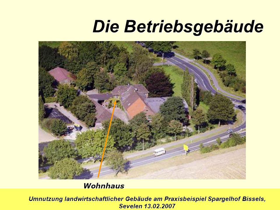 Umnutzung landwirtschaftlicher Gebäude am Praxisbeispiel Spargelhof Bissels, Sevelen 13.02.2007 Wohnhaus Die Betriebsgebäude