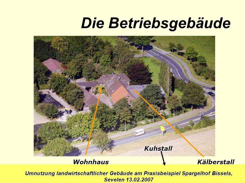 Umnutzung landwirtschaftlicher Gebäude am Praxisbeispiel Spargelhof Bissels, Sevelen 13.02.2007 Wohnhaus Kuhstall Kälberstall Die Betriebsgebäude