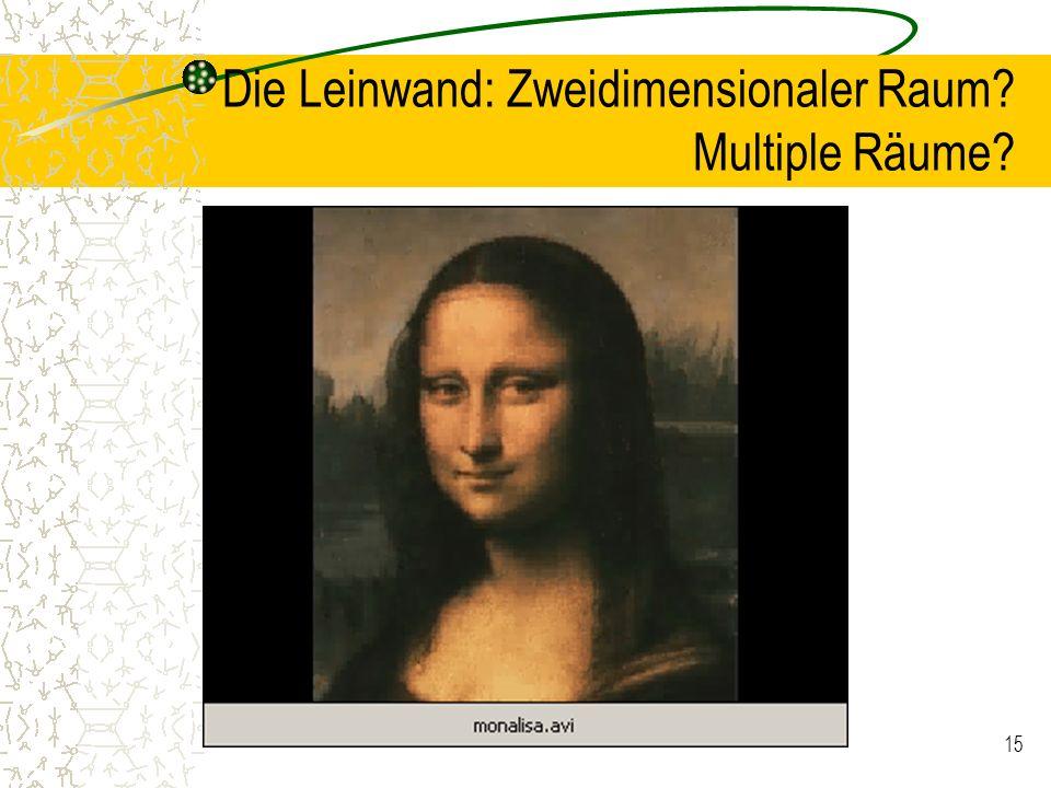 15 Die Leinwand: Zweidimensionaler Raum? Multiple Räume?
