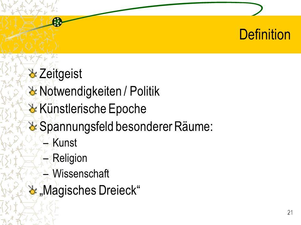 21 Definition Zeitgeist Notwendigkeiten / Politik Künstlerische Epoche Spannungsfeld besonderer Räume: –Kunst –Religion –Wissenschaft Magisches Dreiec