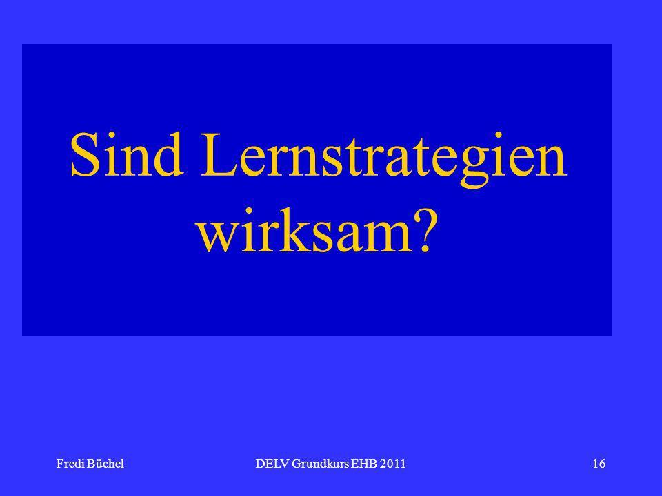 Fredi BüchelDELV Grundkurs EHB 201116 Sind Lernstrategien wirksam?