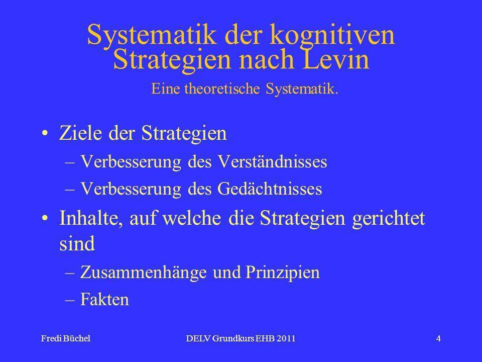 Fredi BüchelDELV Grundkurs EHB 20114 Systematik der kognitiven Strategien nach Levin Eine theoretische Systematik.