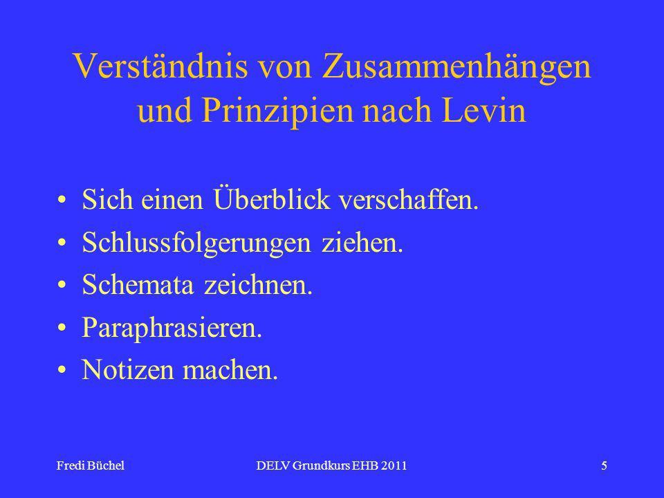 Fredi BüchelDELV Grundkurs EHB 20115 Verständnis von Zusammenhängen und Prinzipien nach Levin Sich einen Überblick verschaffen.