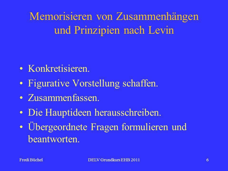 Fredi BüchelDELV Grundkurs EHB 20116 Memorisieren von Zusammenhängen und Prinzipien nach Levin Konkretisieren.