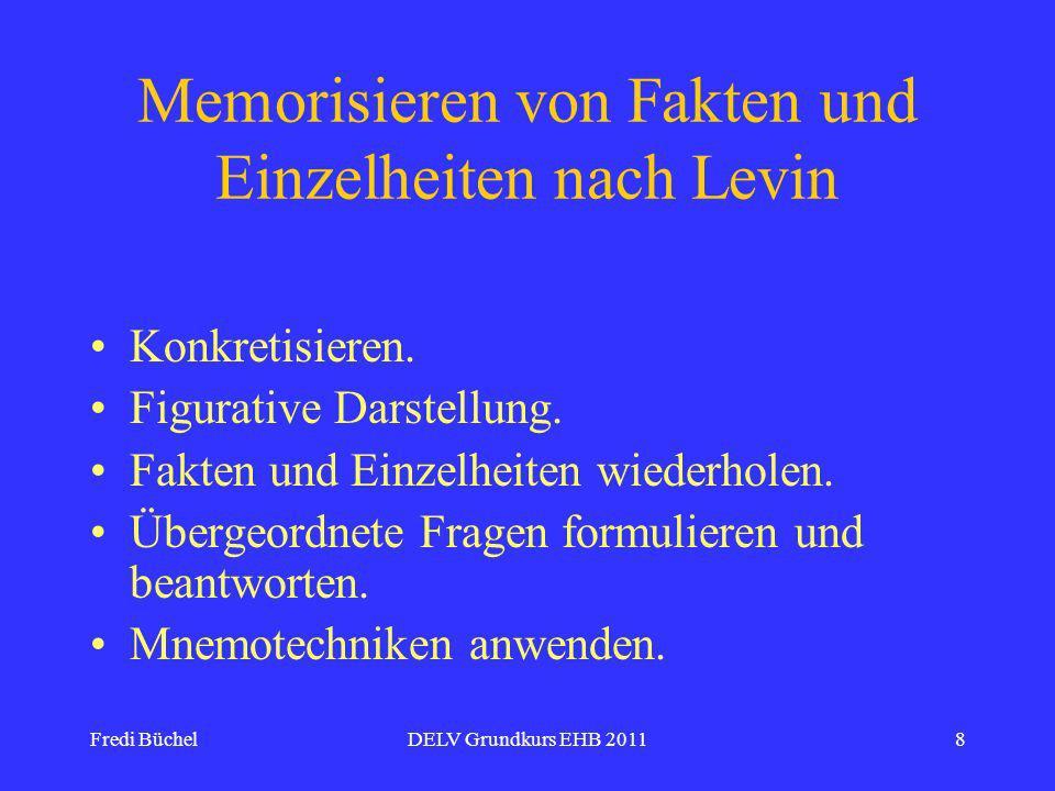Fredi BüchelDELV Grundkurs EHB 20118 Memorisieren von Fakten und Einzelheiten nach Levin Konkretisieren.