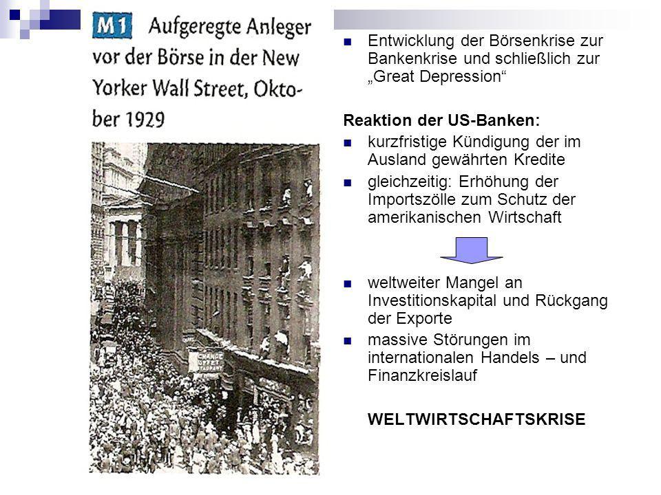 Auswirkungen auf Deutschland: Untersuchen Sie die Entwicklung der Arbeitslosigkeit in Deutschland während der Weltwirtschaftskrise im Vergleich zu Großbritannien und den USA!