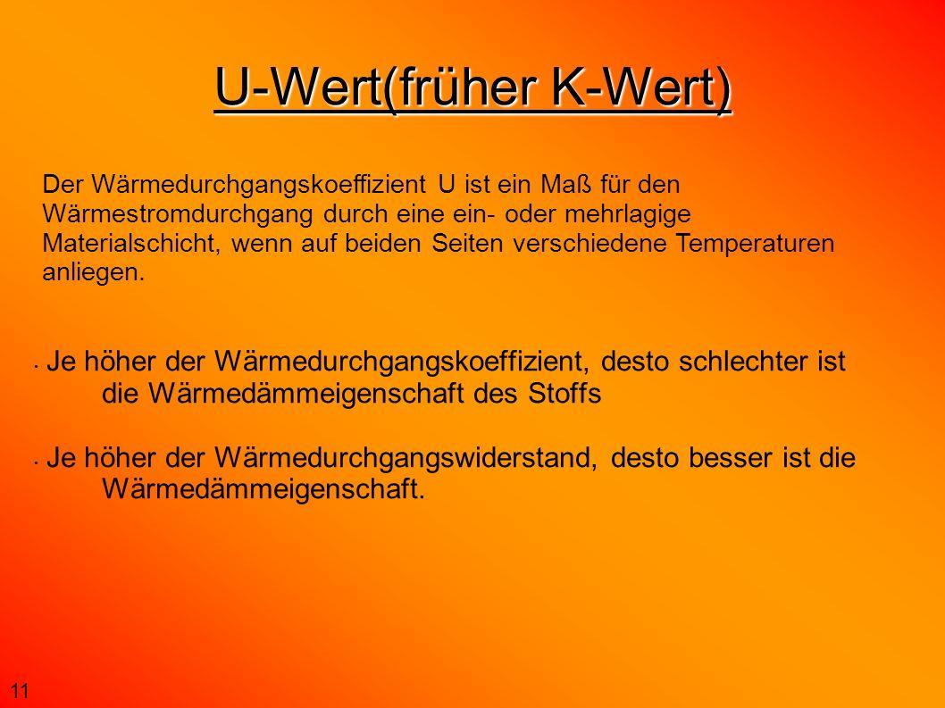 U-Wert(früher K-Wert) Je höher der Wärmedurchgangskoeffizient, desto schlechter ist die Wärmedämmeigenschaft des Stoffs Je höher der Wärmedurchgangswi